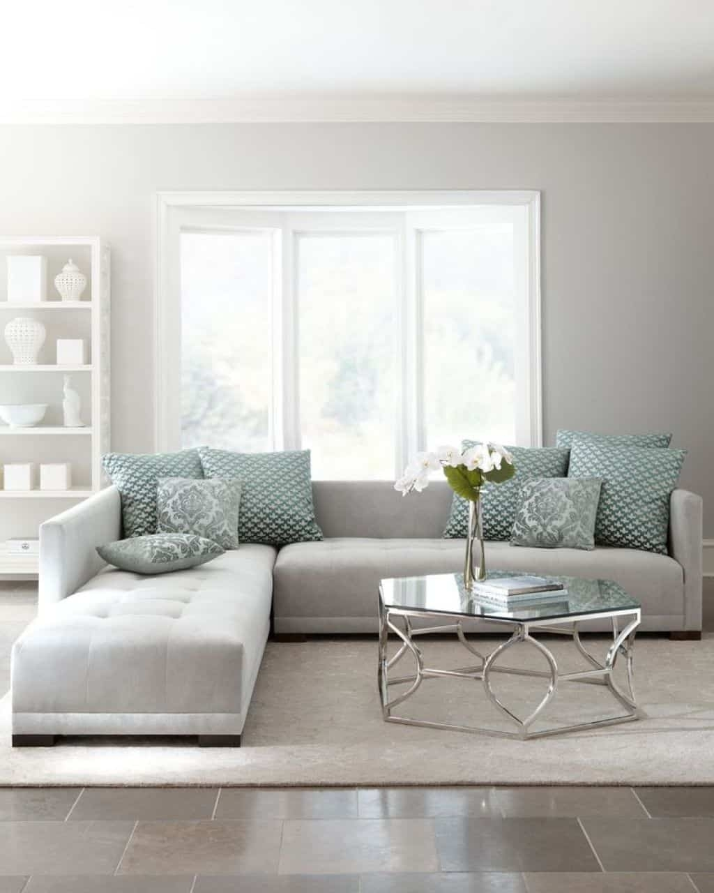 Living Room With Light Grey Sectional Sofa – Ways To Move A With Regard To Light Grey Sectional Sofas (View 6 of 10)
