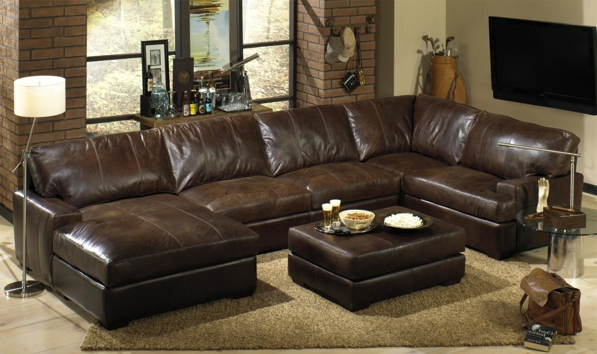 Living Room:distressed Brown Leather Sectional With Letter U Shaped In U Shaped Leather Sectional Sofas (View 4 of 10)