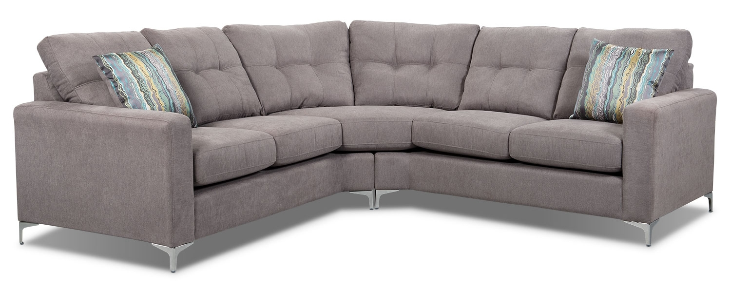 London 2 Piece Linen Look Fabric Sectional – Dove | The Brick With Regard To London Ontario Sectional Sofas (Image 3 of 10)