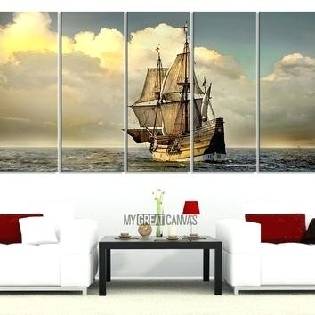 Long Wall Art Canvas Print Art Canvas Painting 5 Piece Large Boat For Big W Canvas Wall Art (Image 11 of 15)