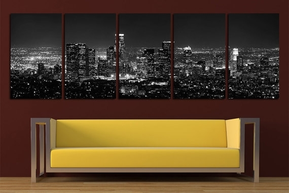 Los Angeles Canvas Print Wall Art Set Los Angeles Skyline Los Inside Los Angeles Canvas Wall Art (View 2 of 15)