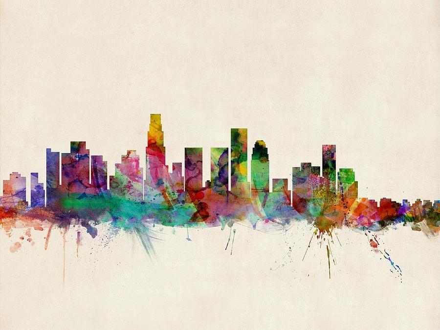 Los Angeles City Skyline Digital Artmichael Tompsett For Los Angeles Framed Art Prints (View 5 of 15)