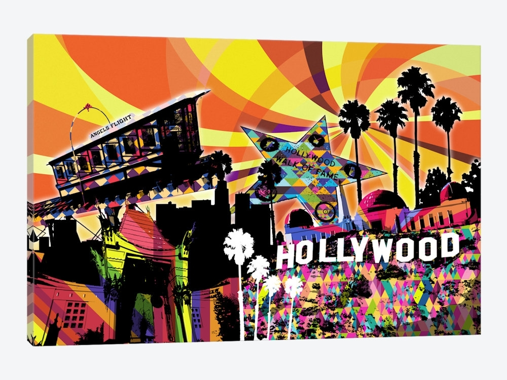Los Angeles Psychedelic Pop 3 Canvas Print5By5Collective | Icanvas With Los Angeles Framed Art Prints (View 14 of 15)