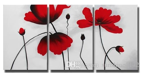Lotus Flower Canvas Painting Wall Decor 3 Panel Red Flower Oil Within Red Flowers Canvas Wall Art (Image 9 of 15)