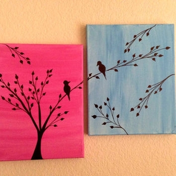Love Birds Painting Acrylic Painting From Preethiart | Canvas For Kohl's Canvas Wall Art (Image 9 of 15)