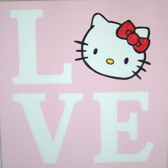 Love Hello Kitty Canvas Wall Art Painting Handpaintedbbmnky06 With Hello Kitty Canvas Wall Art (View 3 of 15)