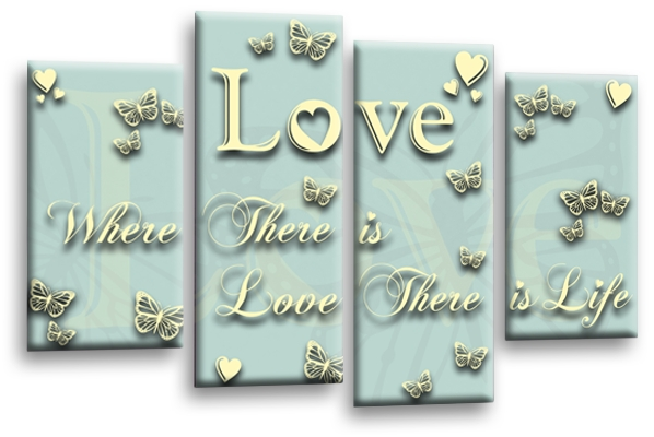 Love Horizontal Coloured Canvas Wall Art Throughout Duck Egg Canvas Wall Art (View 10 of 15)