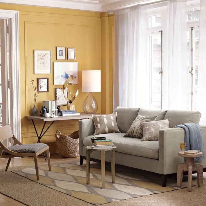 Love This Yellow Accent Wall And Grey Couch – West Elm | Living Intended For Wall Accents For Yellow Room (Image 11 of 15)