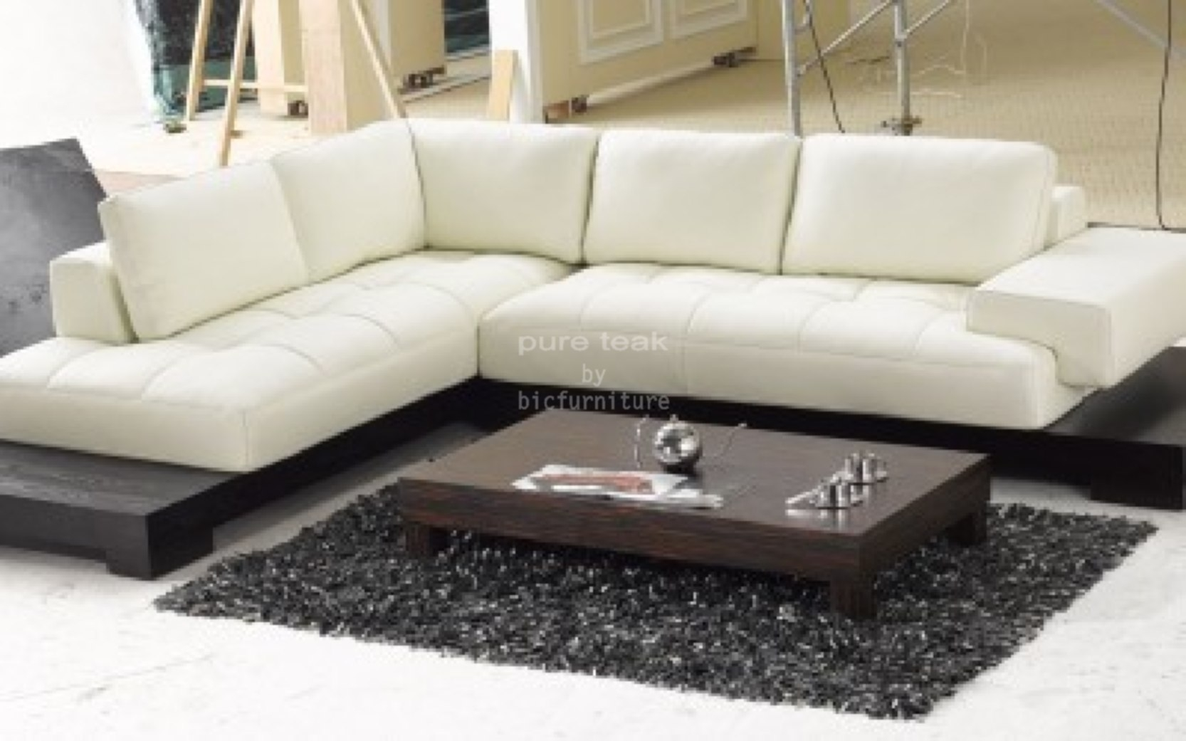 Low Teakwood Living Room Sofa Set (Ls 3) Details | Bic Furniture India Pertaining To L Shaped Sofas (View 2 of 10)
