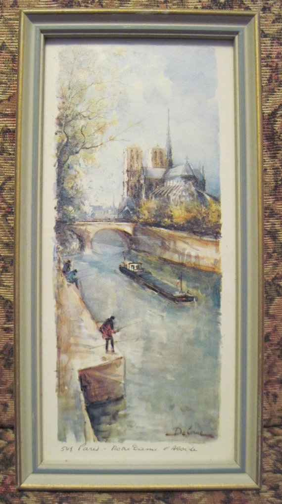 Lucien Delarue Art Print #548 Paris Matted And Framed In Vintage Within Framed And Matted Art Prints (View 9 of 15)