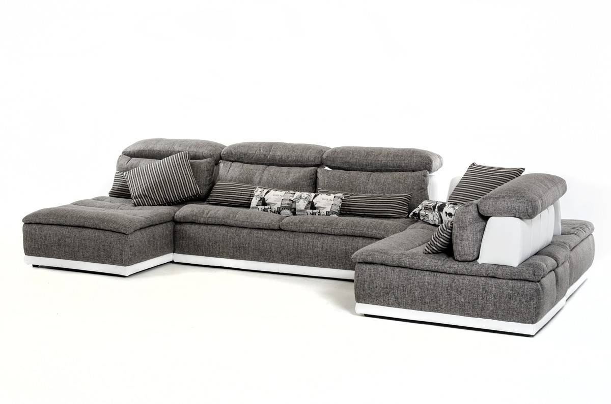 Made In Italy Grey Fabric And White Leather Sectional Sofa El Paso For El Paso Sectional Sofas (View 2 of 10)