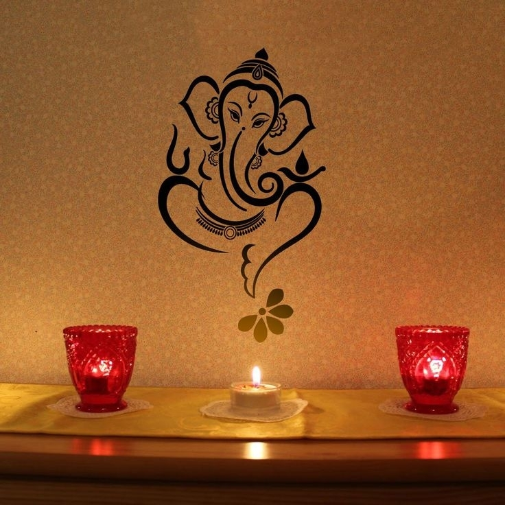 Madewalldesign Floral Ganesha – Vinyl Wall Sticker | Ganesha Inside Abstract Ganesha Wall Art (View 14 of 15)
