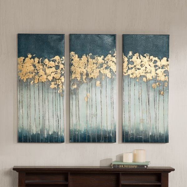 Madison Park Midnight Forest Gel Coat Canvas With Gold Foil Intended For Embellished Canvas Wall Art (View 12 of 15)