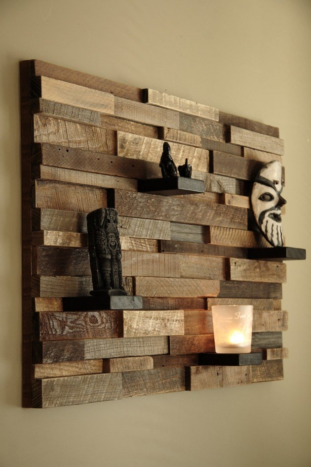 Magnificent Examples Of Reclaimed Wood Wall Art Intended For Reclaimed Wood Wall Accents (Image 5 of 15)