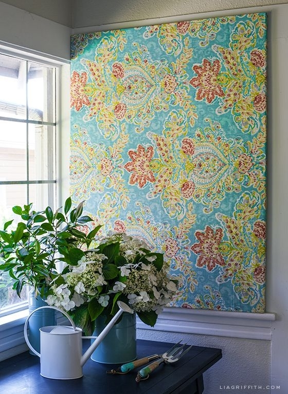Make Easy Diy Art With A Canvas Stretcher Frame And Pretty Fabric In Blue Fabric Wall Art (Image 12 of 15)