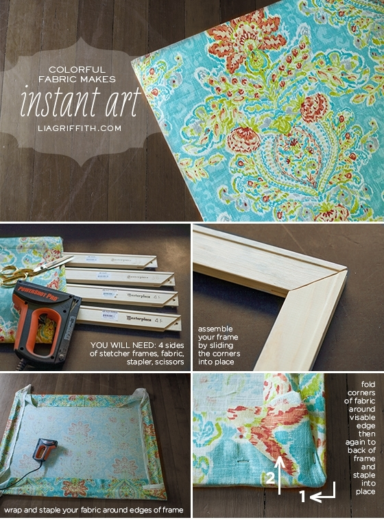 Make Easy Diy Art With A Canvas Stretcher Frame And Pretty Fabric Within Fabric Stretcher Wall Art (Image 13 of 15)