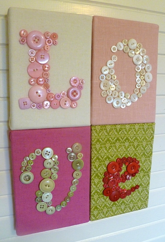 Make This With Buttons! – Grey, Yellow, White And Blue | For The Inside Fabric Wall Art Letters (Image 12 of 15)