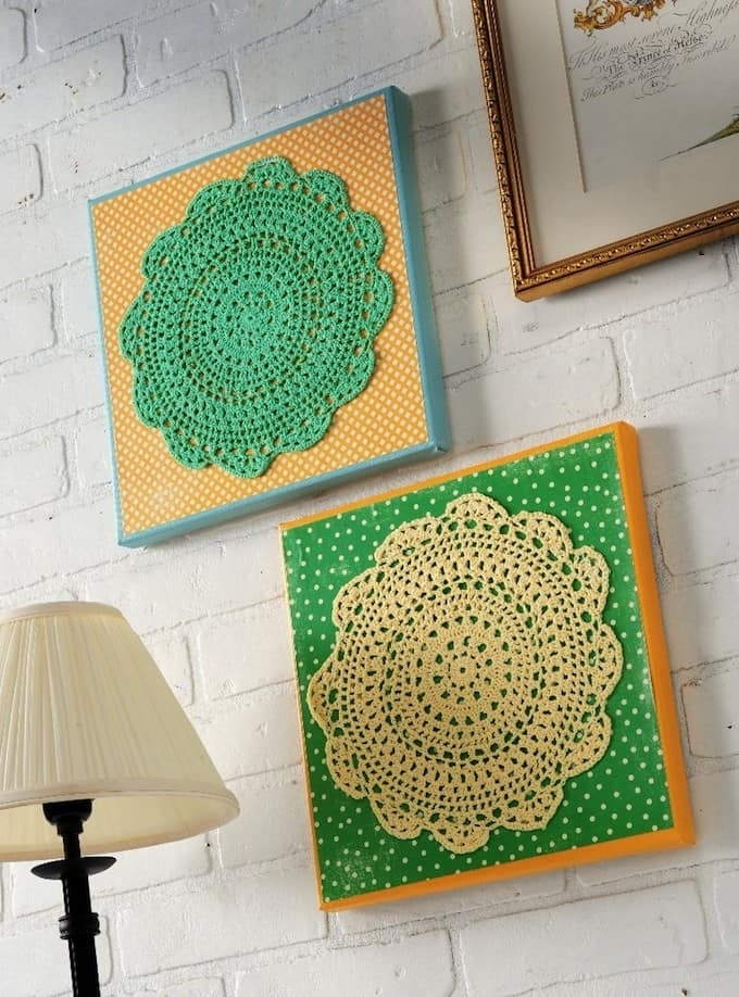 Make Your Own Doily Wall Art – Mod Podge Rocks In Mod Podge Fabric Wall Art (Image 7 of 15)
