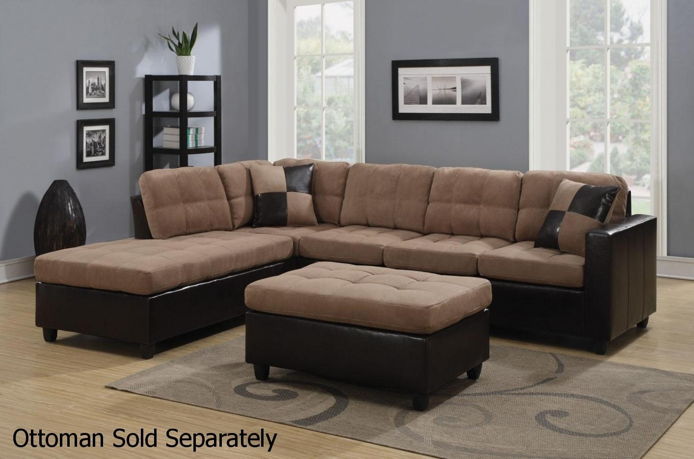 Mallory Beige Leather Sectional Sofa – Steal A Sofa Furniture Outlet Regarding Sectional Sofas (Image 5 of 10)