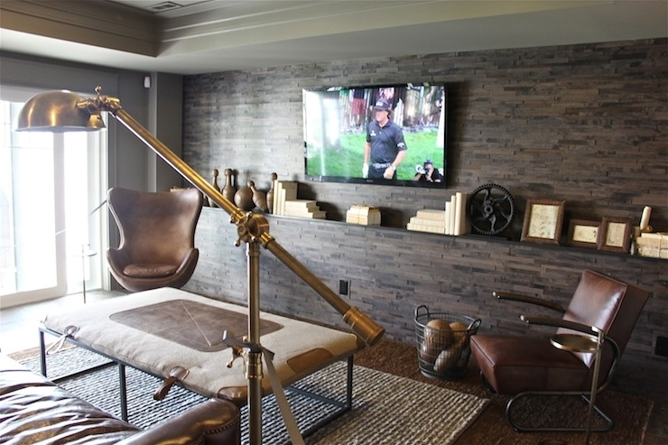 Man Cave – Contemporary – Media Room – The Fat Hydrangea In Wall Accents For Media Room (Image 6 of 15)