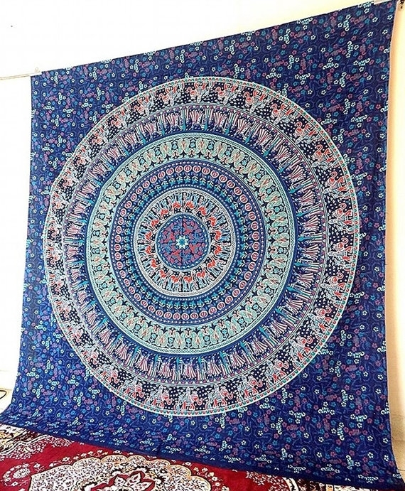 Mandala Blue Fabric Elephant Wall Tapestry Large Hippie Wall Throughout Elephant Fabric Wall Art (Image 10 of 15)