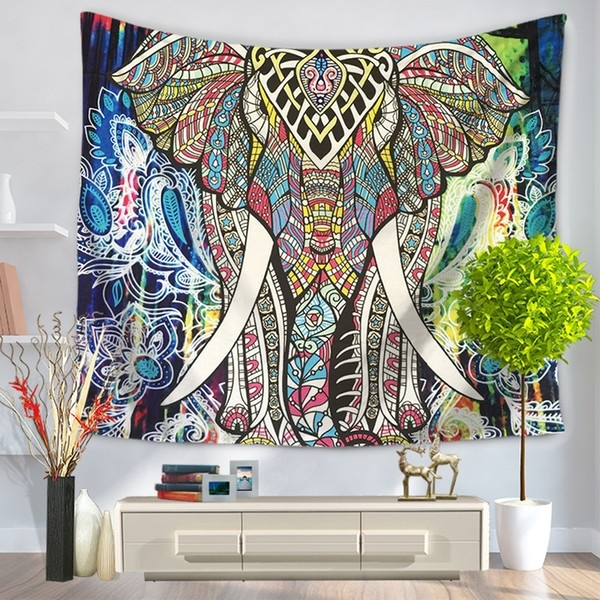 Mandala Bohemian Style Colorful Thailand Elephant Tapestry Pertaining To Thai Fabric Wall Art (View 7 of 15)