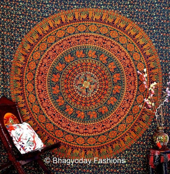 Mandala Hippie Hippy Wall Hanging, Indian Elephant Mandala Regarding Indian Fabric Wall Art (Image 12 of 15)