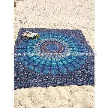 Mandala Tapestry – Made Of Cotton Fabric, Mirchi Kali Printed Throughout Round Fabric Wall Art (Image 13 of 15)