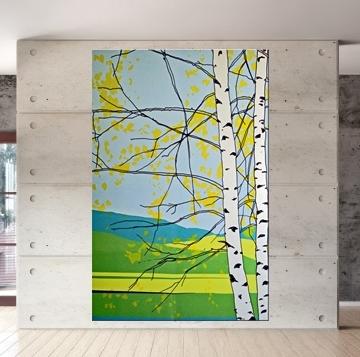 Marimekko 'kaiku' Fabric Wall Art In Blue And Green 120X180X4Cm With Blue Fabric Wall Art (View 10 of 15)