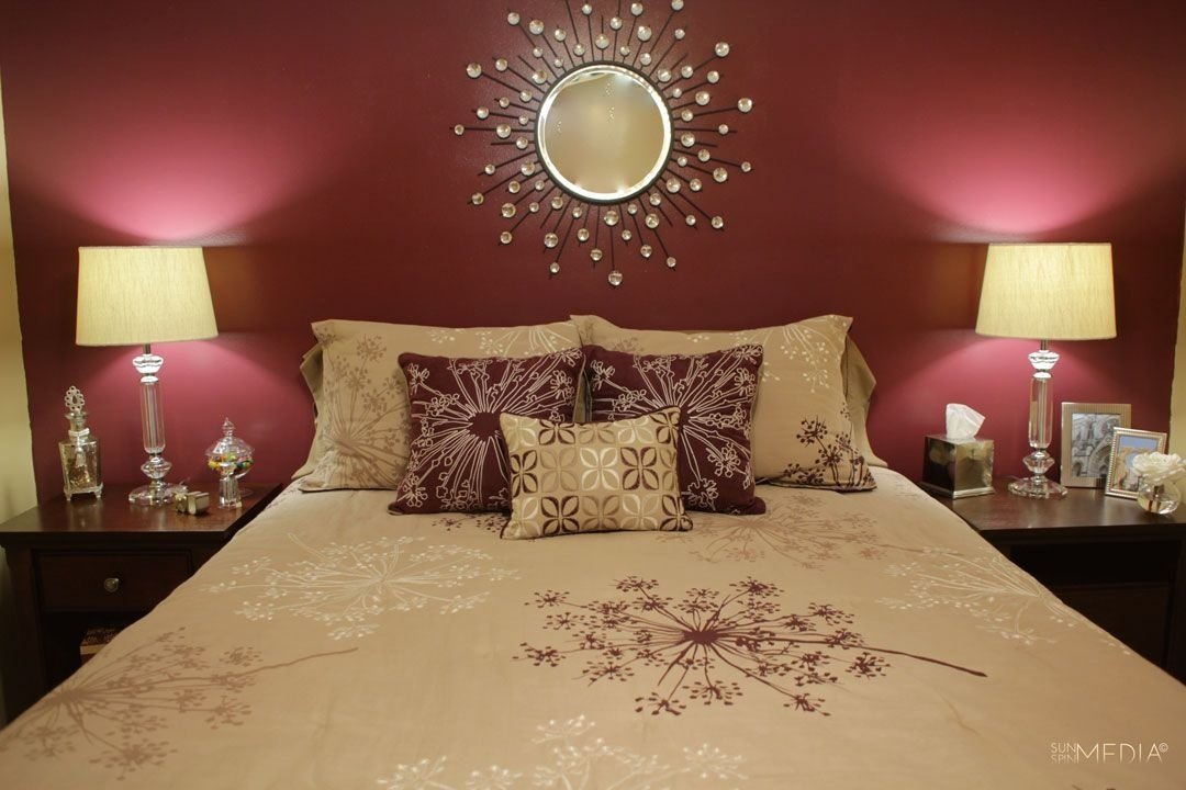Maroon Bedroom Wall (I Like The Pillow Arrangement, Too (View 11 of 15)