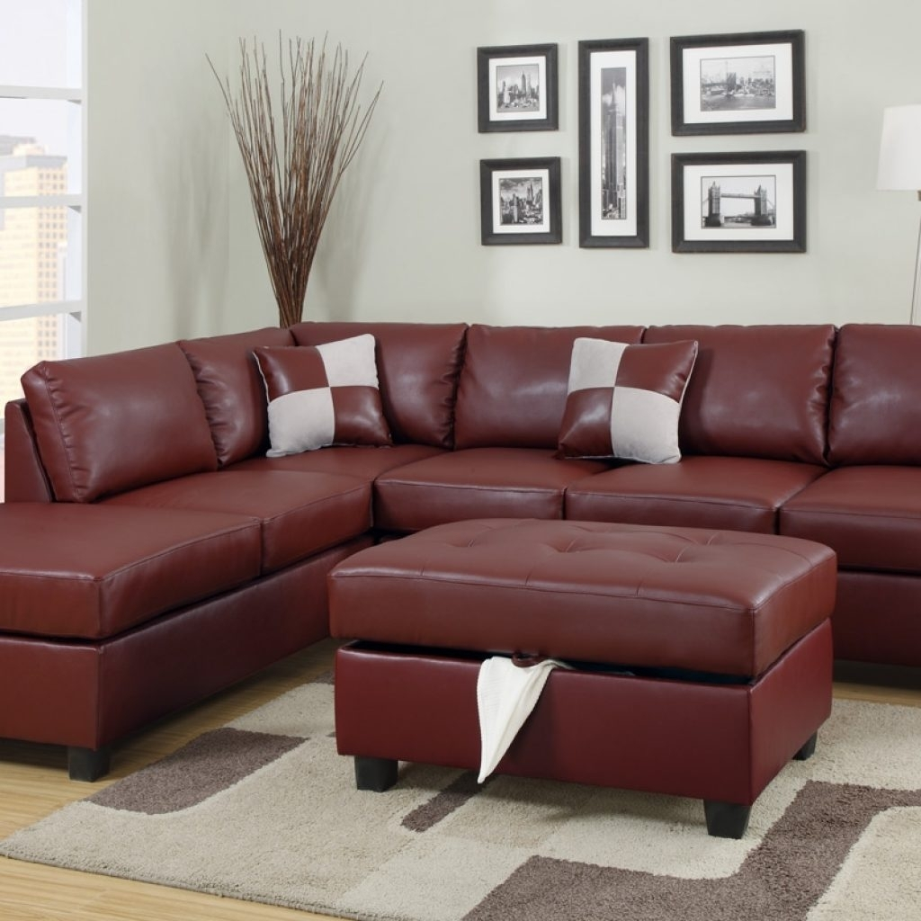Maroon Leather Sectional Sofa | Http://tmidb | Pinterest Regarding Red Leather Sectionals With Ottoman (Image 8 of 10)