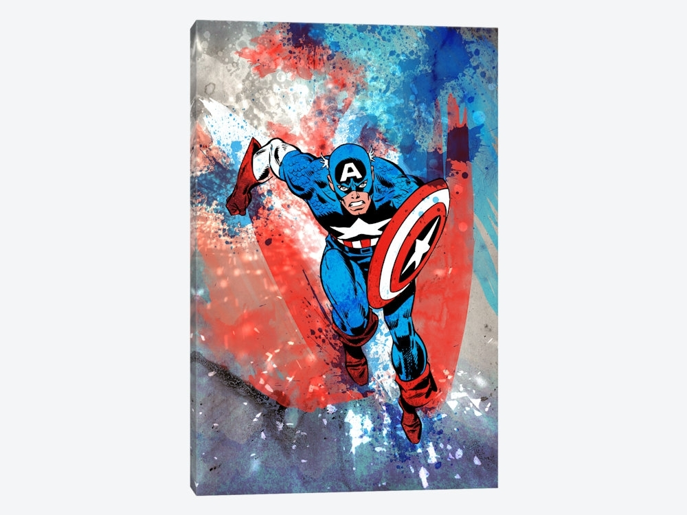 Marvel Comics Captain America Running Painted  | Marvel Comics Throughout Marvel Canvas Wall Art (Image 11 of 15)