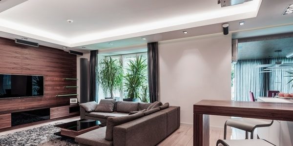 Marvelous Living Room Design Ideas With Modern Tv Wall Mount Grey In Wall Accents For L Shaped Room (View 14 of 15)