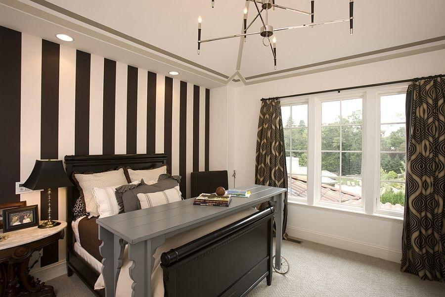 Mediterranean Bedroom Design With Vertical Wall Stripes And Black With Vertical Stripes Wall Accents (View 3 of 15)