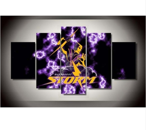 Melbourne Storm Nrl Clubteam 5 Piece Canvas Wall Art | Creative inside Canvas Wall Art In Melbourne