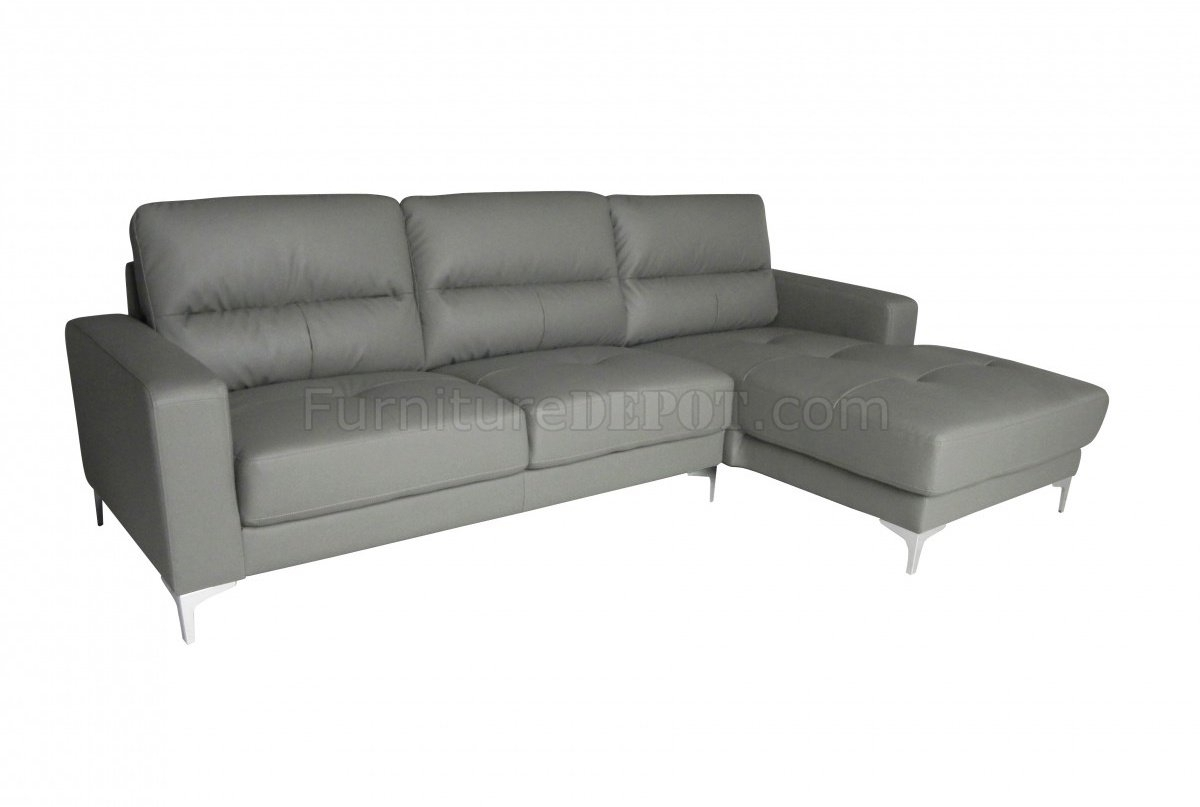 Memphis Sectional Sofa In Gray Bonded Leatherwhiteline Inside Memphis Sectional Sofas (Image 6 of 10)