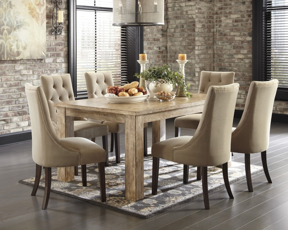 Mestler Bisque Rectangular Dining Room Table & 4 Light Brown Uph Pertaining To Sofa Chairs With Dining Table (Image 7 of 10)