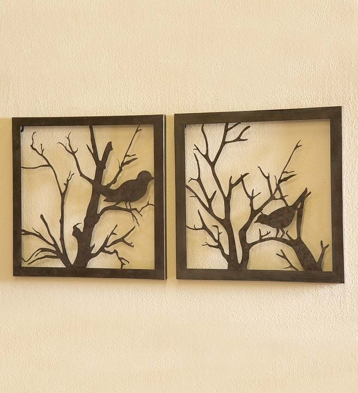 Metal Bird Wall Art Impressive Scroll With Love Birds Metal Wall Inside Fabric Bird Wall Art (Image 11 of 15)