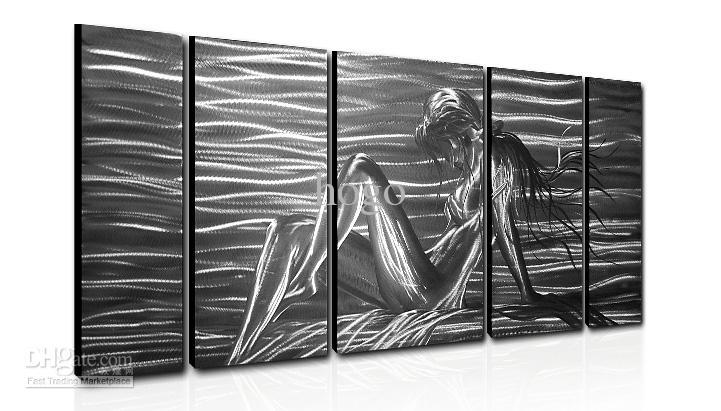 Metal Wall Art Abstract Modern Sculpture Painting Handmade 5 Panle Regarding Inexpensive Abstract Metal Wall Art (Image 8 of 15)