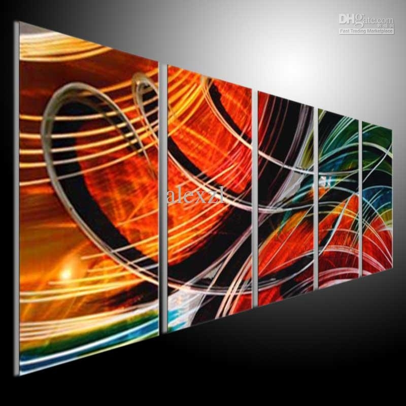 Metal Wall Art Abstract Modern Sculpture Painting Handmade 5 Within Abstract Orange Wall Art (View 11 of 15)