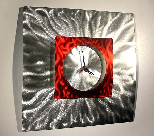 Metal Wall Art Clock Abstract Modern Decor Sculpture Regarding Abstract Metal Wall Art With Clock (View 5 of 15)