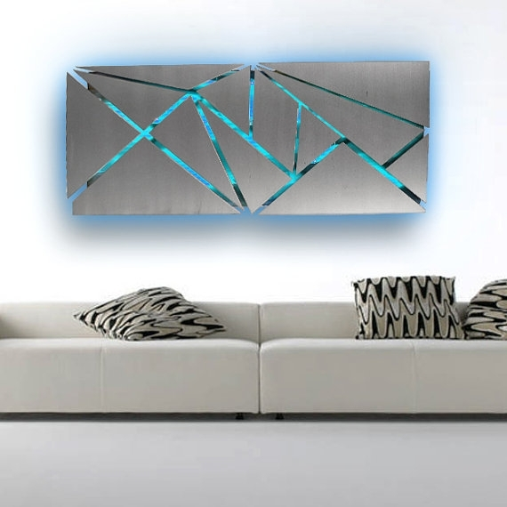 Metal Wall Art Lighted Wall Art Metal Wall Sculpture Intended For Abstract Geometric Metal Wall Art (View 15 of 15)