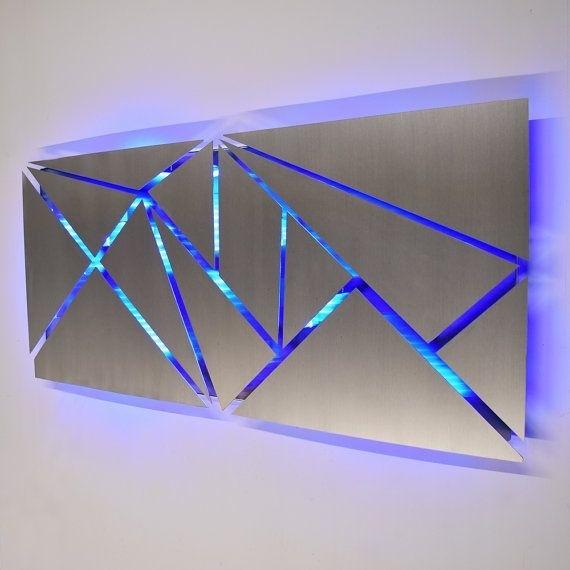 Metal Wall Art – Lighted Wall Art – Metal Wall Sculpture – Modern Regarding Abstract Geometric Metal Wall Art (View 7 of 15)