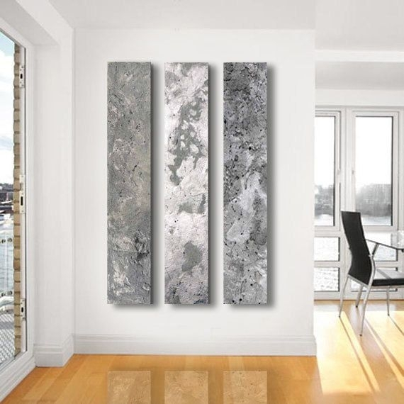 Metallic Abstract Paintings, – 3 Panel Custom Abstract Wall Art Intended For Etsy Wall Accents (View 2 of 15)
