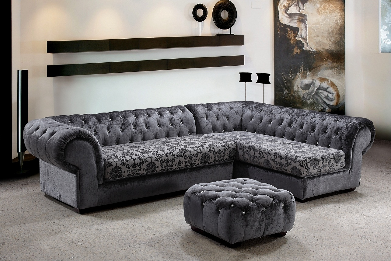 Metropolitan 3 Piece Fabric Sectional Sofa & Ottoman With Crystals Throughout Elegant Sectional Sofas (View 2 of 10)
