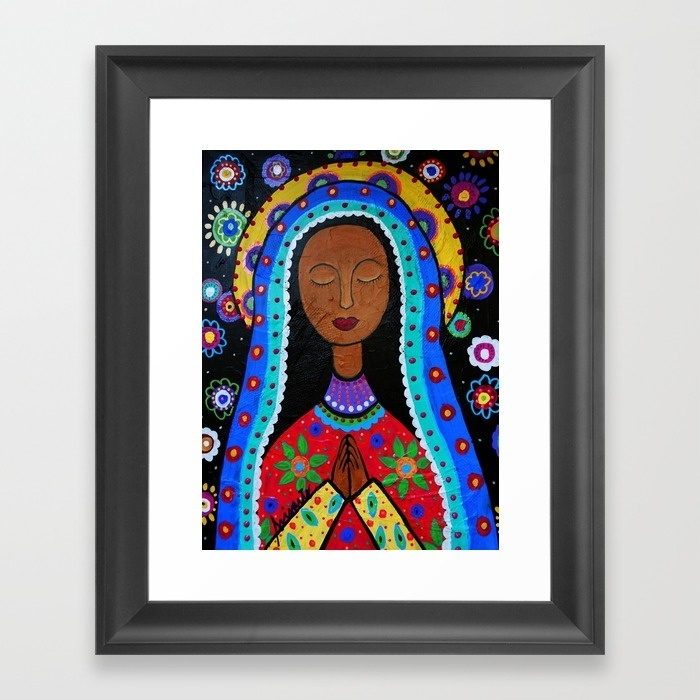 Mexican Folk Art Virgin Guadalupe Painting Framed Art Print Within Framed Folk Art Prints (View 12 of 15)