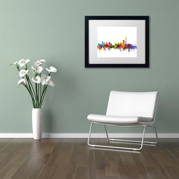 Michael Tompsett 'johannesburg South Africa Skyline' White Matte Regarding Johannesburg Canvas Wall Art (View 13 of 15)