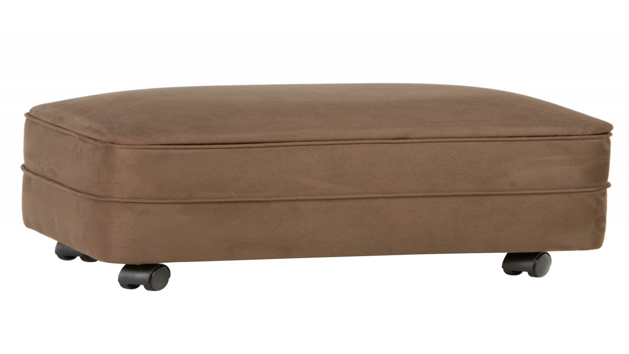 Microfiber Storage Ottoman, Footstools And Ottomans With Wheels Intended For Ottomans With Wheels (Image 10 of 10)