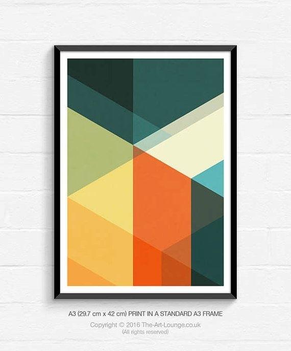Mid Century Modern, Geometric Art, Abstract Art, Art Print Regarding Abstract Graphic Wall Art (View 2 of 15)