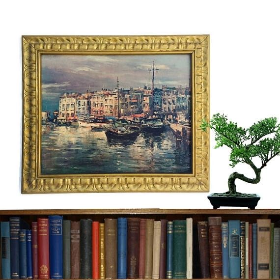 Mid Century Modern Print Framed Wall Art Venice Print On Board Throughout European Framed Art Prints (View 6 of 15)